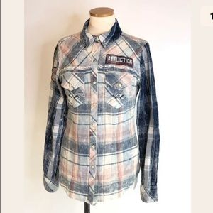 Affliction pearl snap western style plaid shirt
